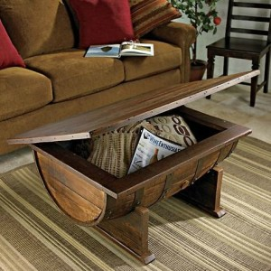 Coffee Table of Wooden Barrel
