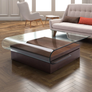 Contemporary Glass Coffee Table with Shaped Top