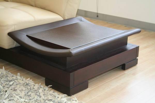 Dark Leather Coffee Table