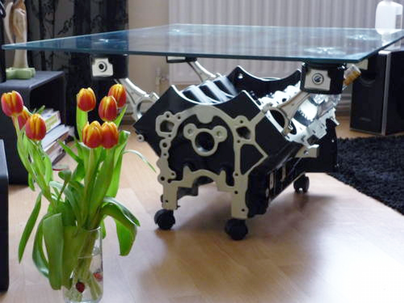 Engine Block Coffee Table with Wheels
