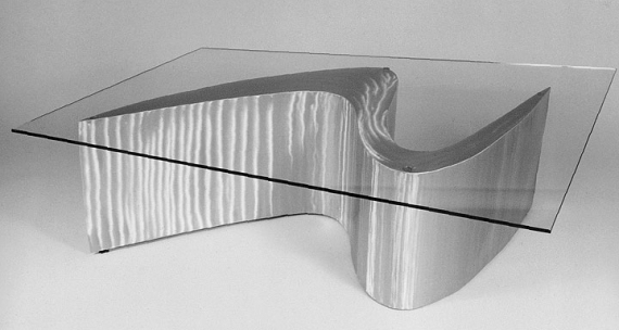 Futuristic Glass and Metal Coffee Table