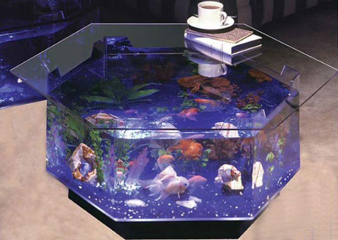 Hexagonal Fish Tank Coffee Table