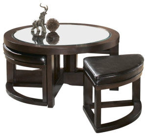 Mirror Coffee Table with Seating
