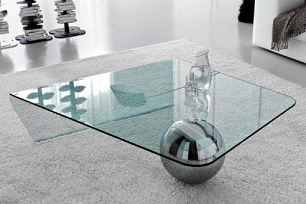 Modern Glass and Metal Coffee Table