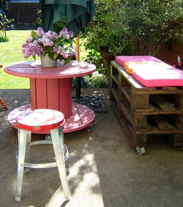 Painted Coffee Table Made of Cable Spool