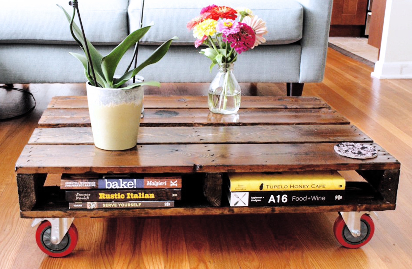 Pallet Coffee Table With Wheels Coffee Tables