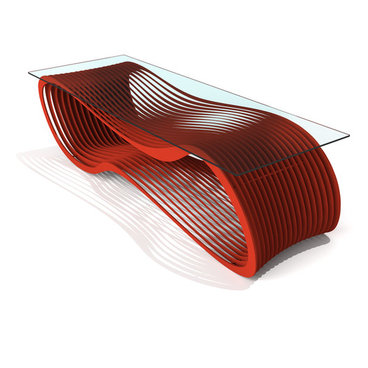 Red Loop Contemporary Glass Coffee Table
