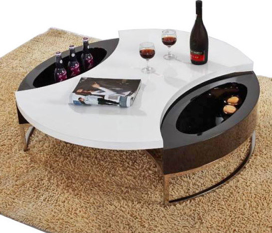 Round Coffee Table with Wine Storage