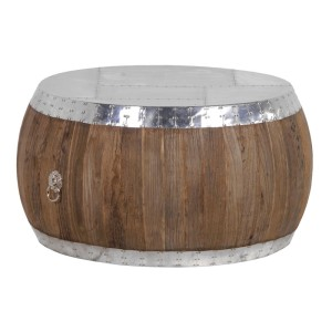 Round Wood and Metal Coffee Table