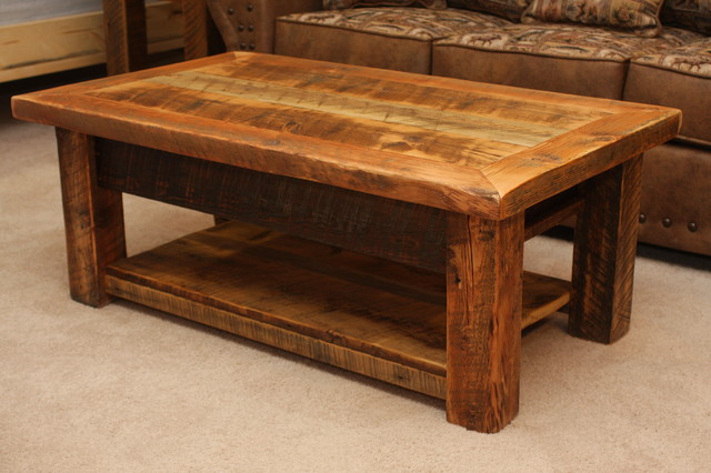 Rustic Wood Coffee Table With Shelf Coffee Tables