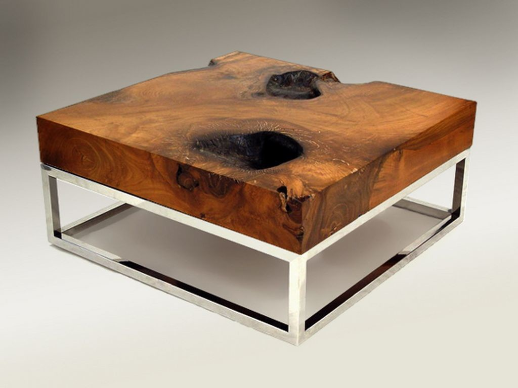 Unfinished Teak Wood Coffee Table with Metal Frame