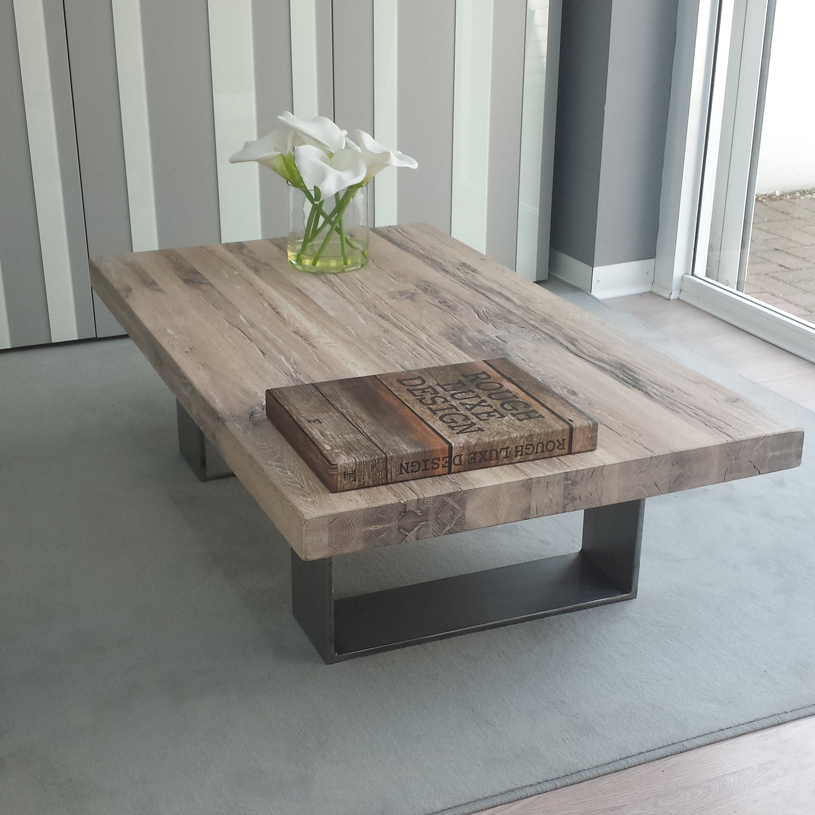 Wood Coffee Table With Solid Metal Legs Image And Description