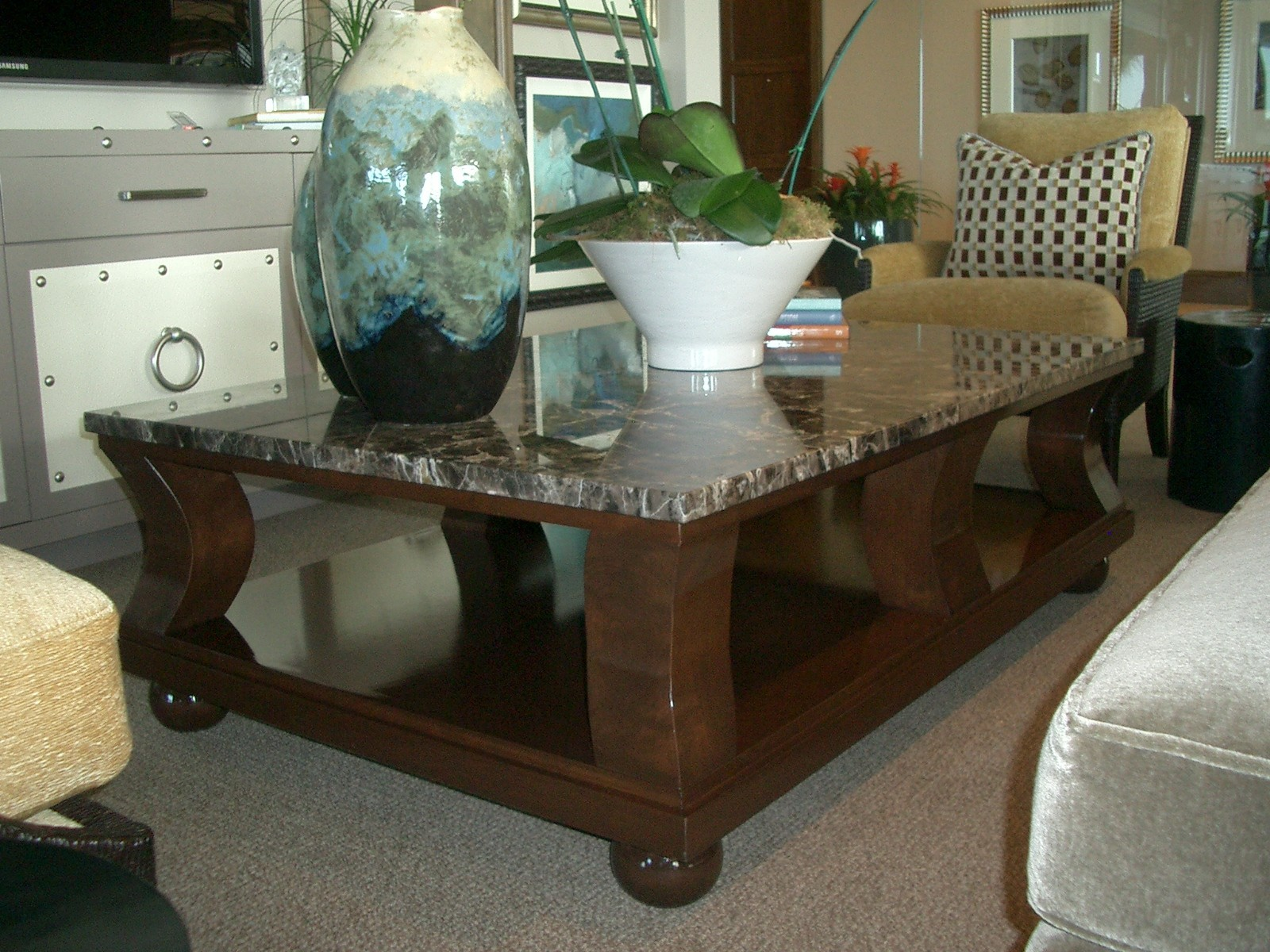 Long Rectangle Granite Coffee Table Coffee Tables
