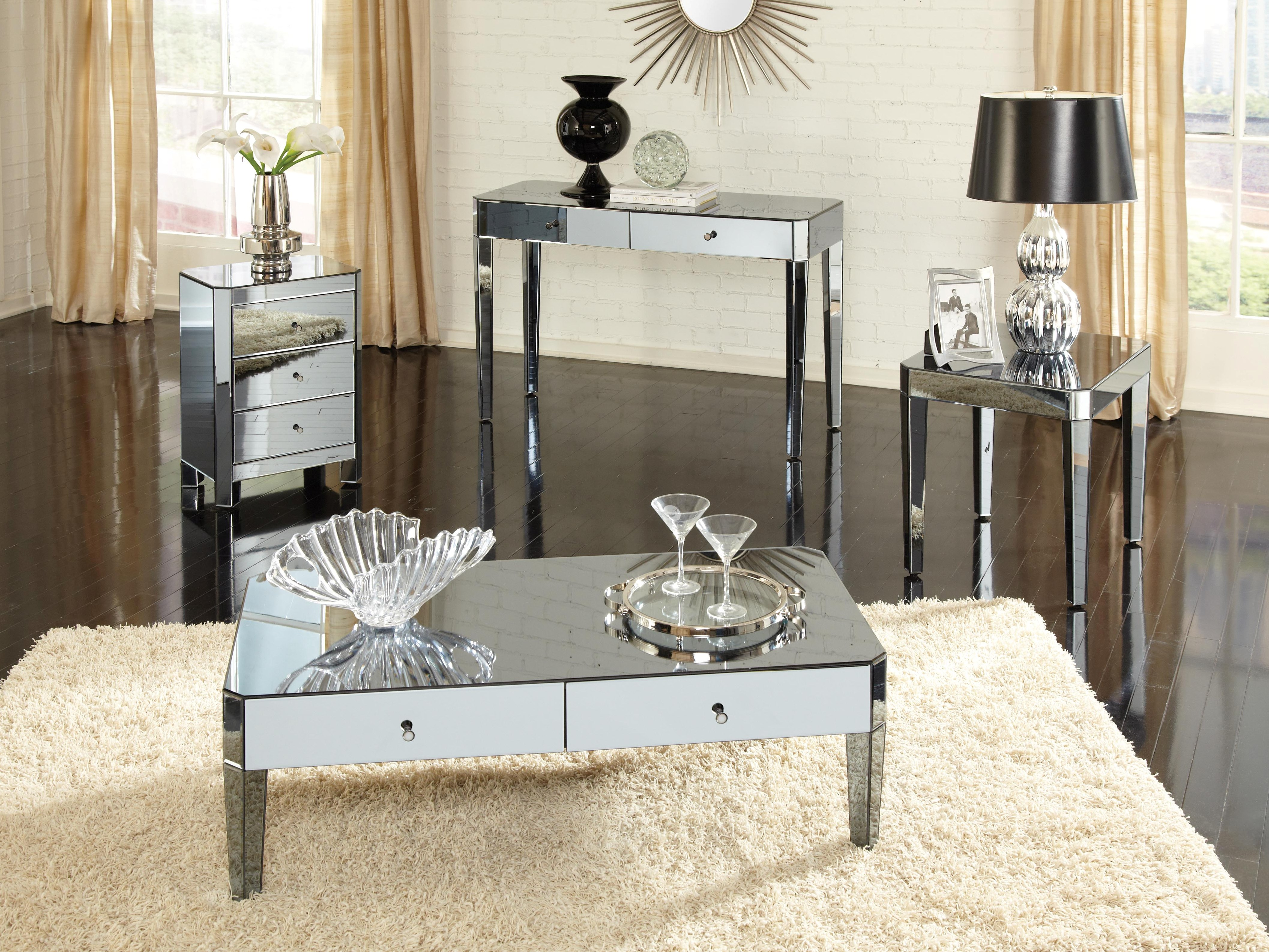 Mirrored Coffee Table with Drawers