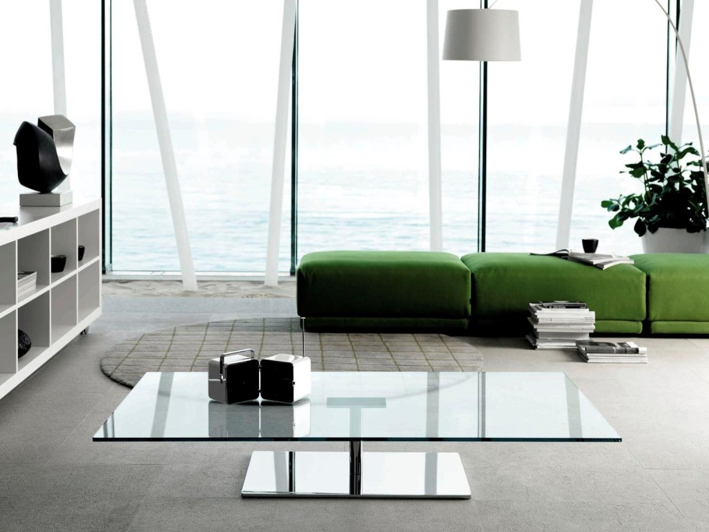 Mirrored and Glass Coffee Table