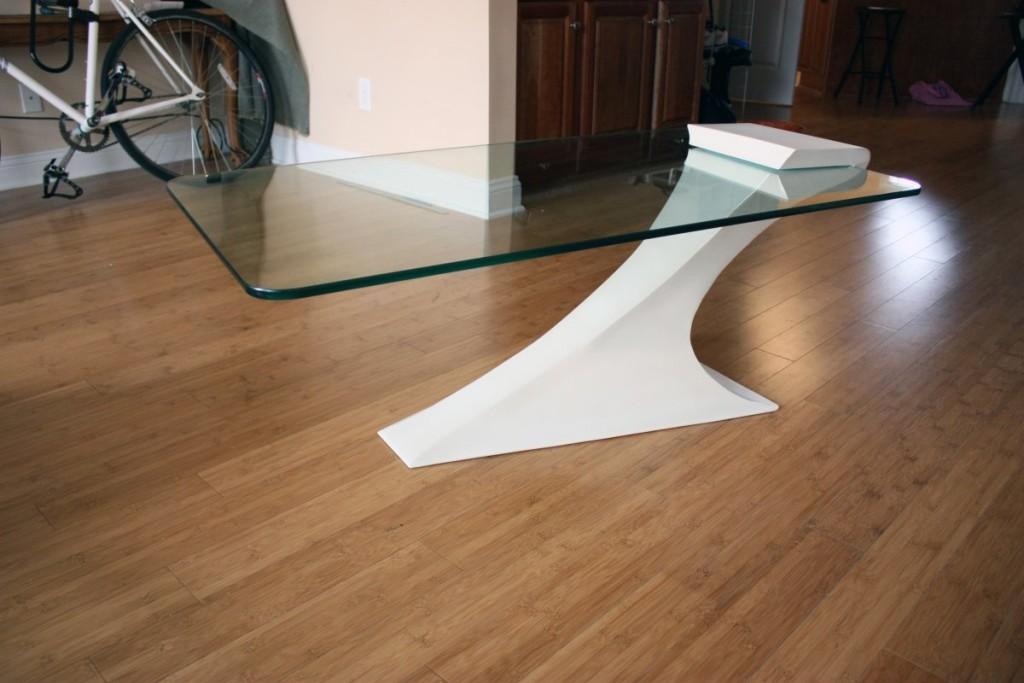 Modern Glass Coffee Table with Massive Leg