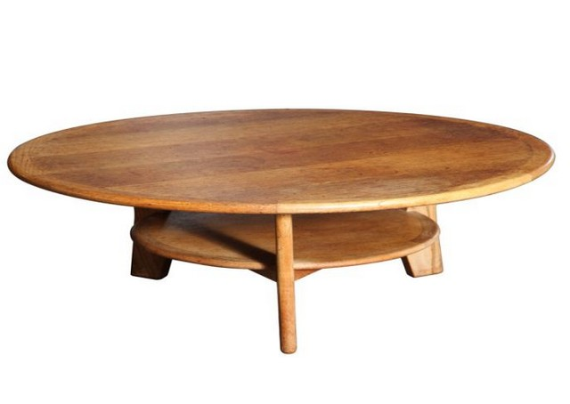 Round Oak Coffee Table with Three Legs