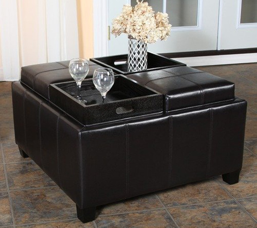 Black Leather Coffee Table