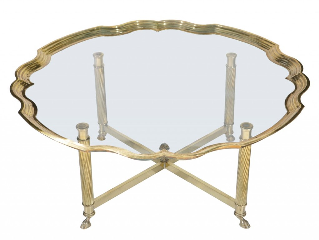 Brass Coffee Table with X-Base