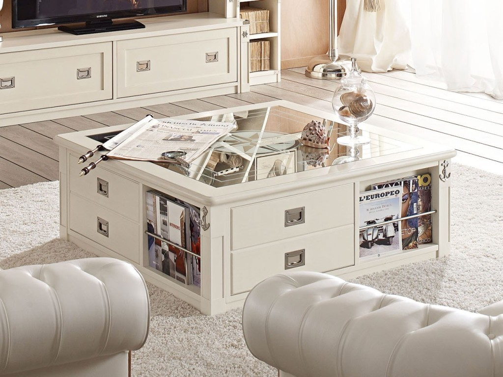 Coffee Table With Drawers And Magazines Rack