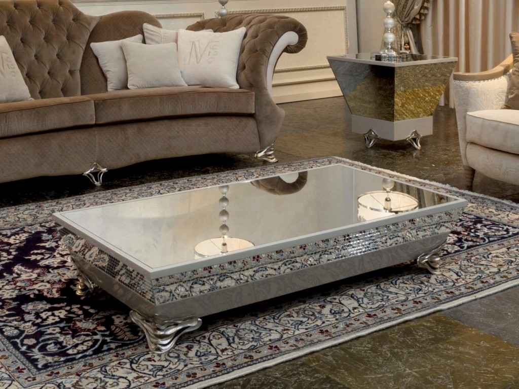 Coffee Table with Silver Base