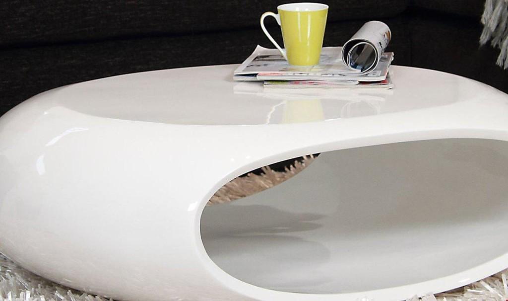 Futuristic White Lacquer Coffee Table