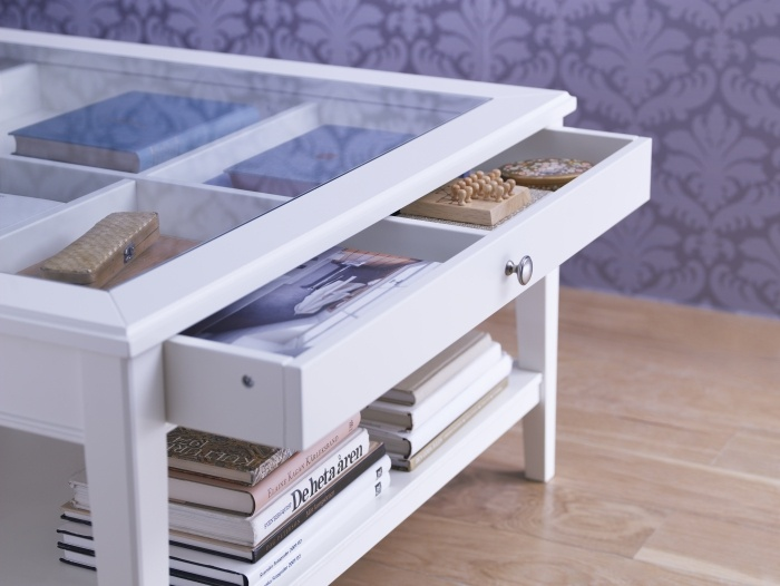 Glass Display Coffee Table with Drawer