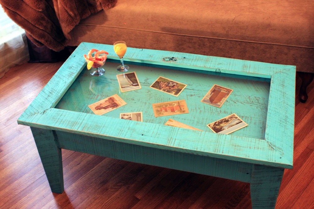 Glass Display Coffee Table with Photo Set