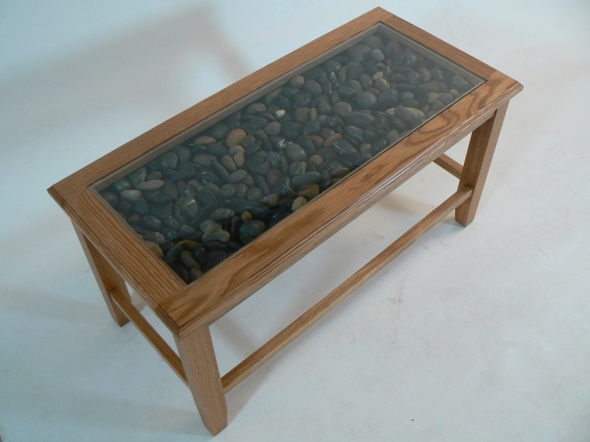 Glass Display Stone Top Coffee Table