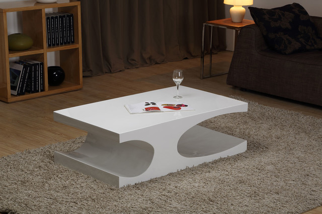 Glossy White Lacquer Coffee Table