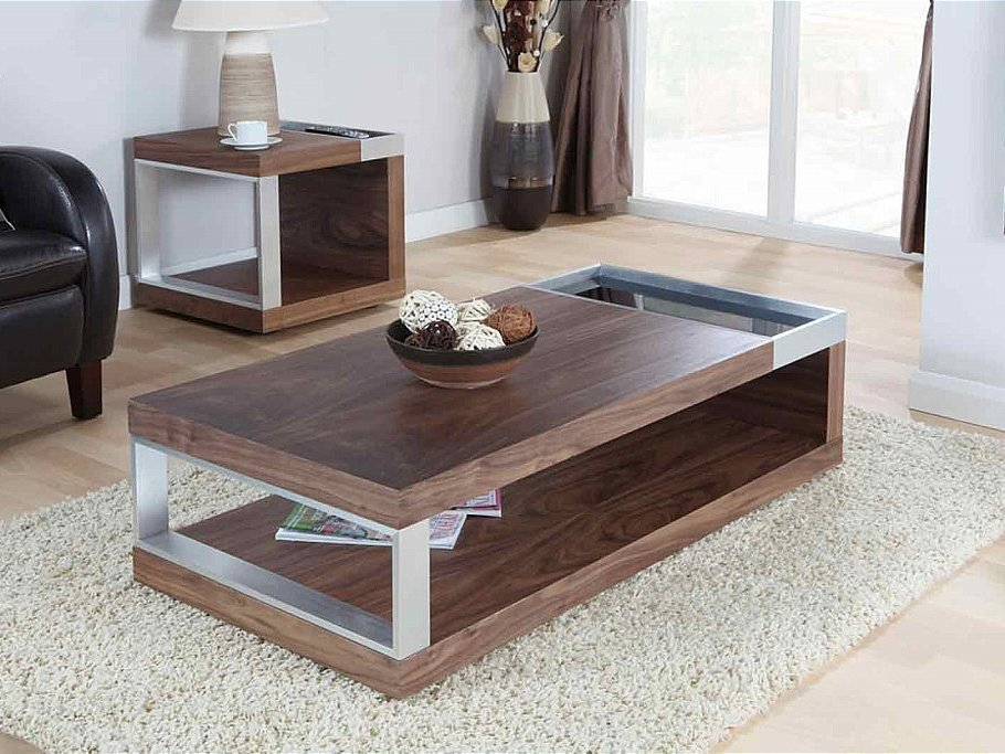 Walnut Coffee Table with Metal Accents