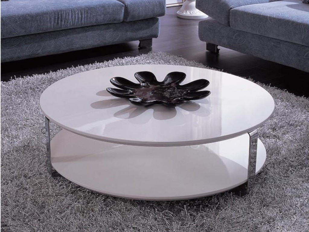 White Lacquer Coffee Table with Metal Accents