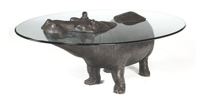 Animal Emerging out of Glass Top Coffee Table