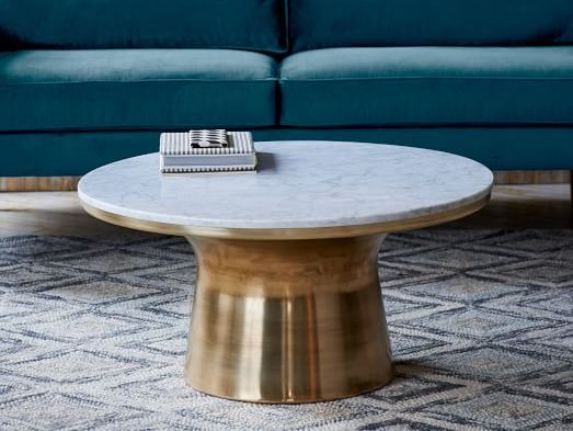 Marble-Topped Pedestal Coffee Table