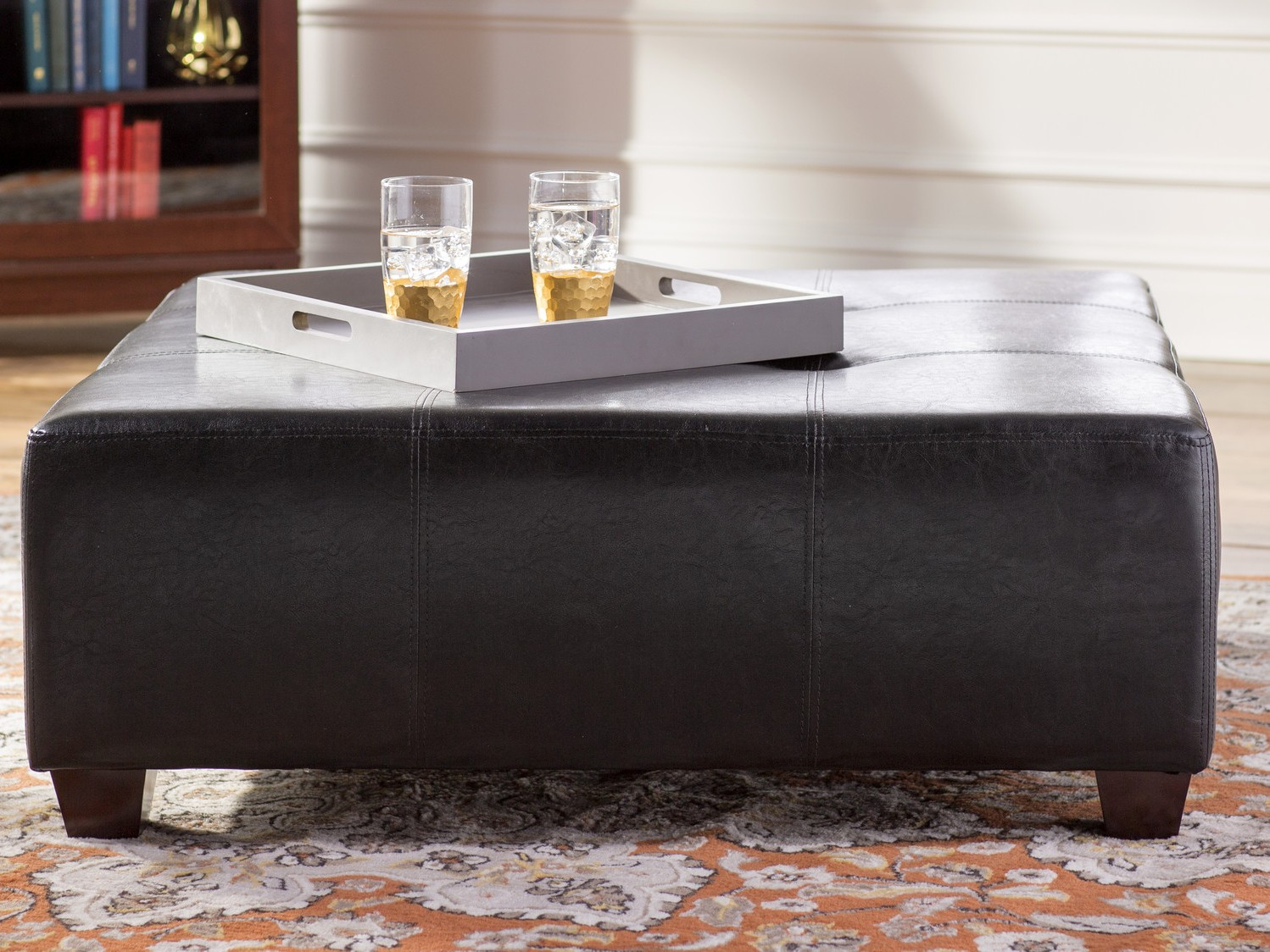 Black Upholstery Tufted Ottoman Coffee Table