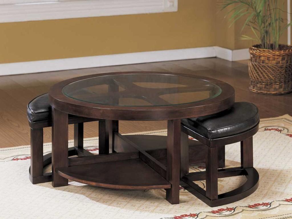 Dark Wood Coffee Table with Hidden Stools