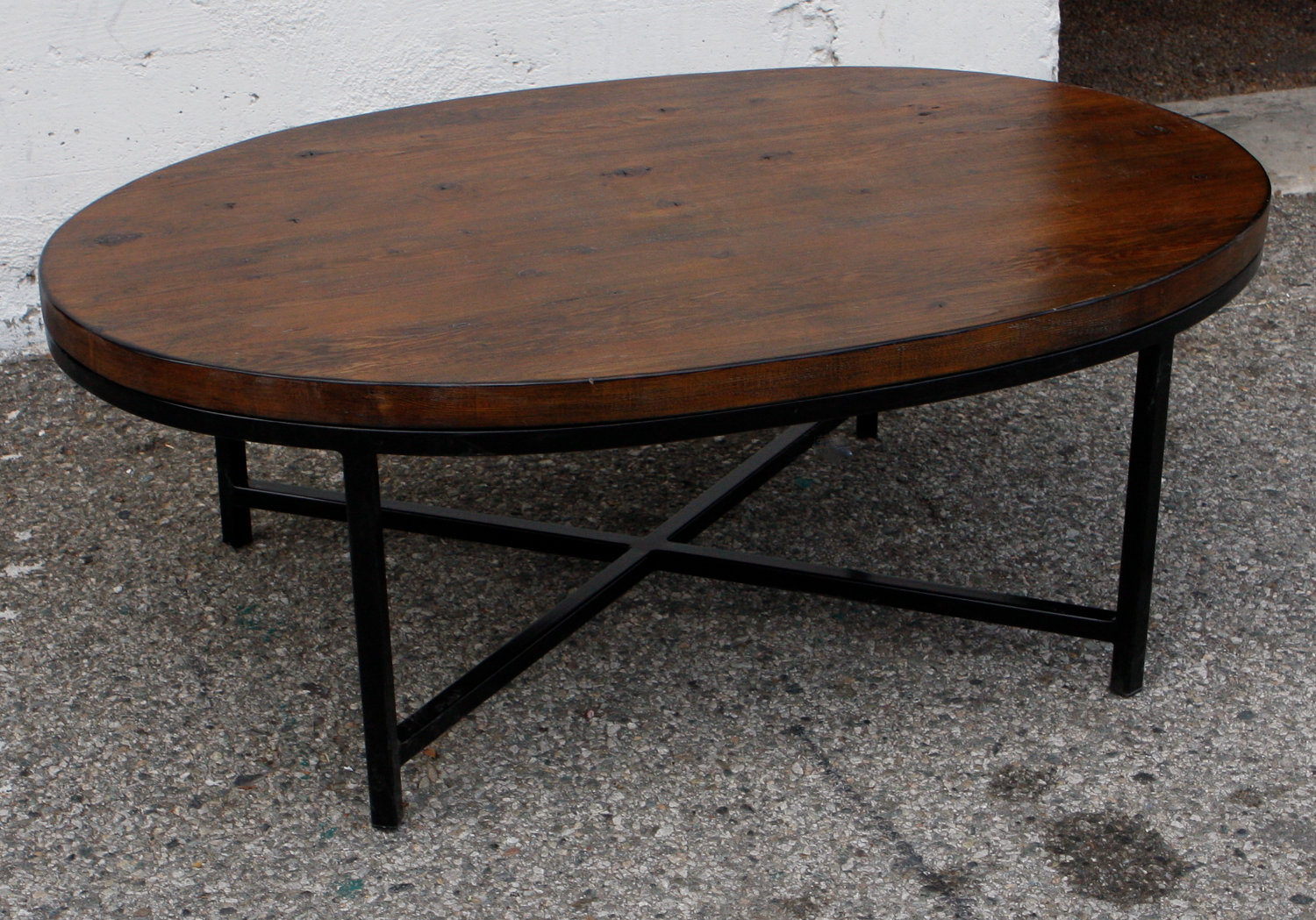Dark Wood Coffee Table With Iron Base Image And Description