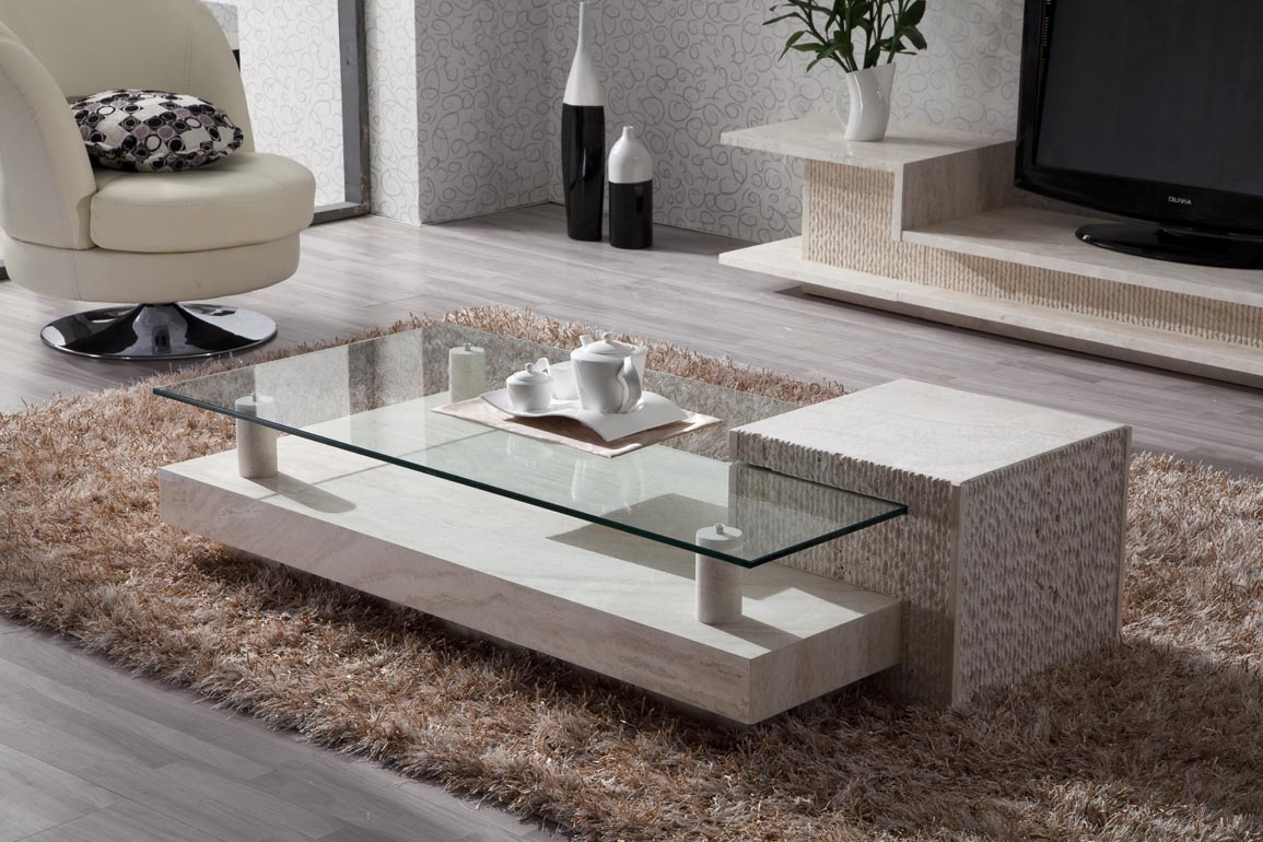 Idea of Travertine Coffee Table
