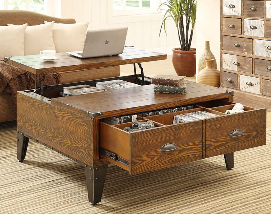 Pop Up Coffee Table with Working Space