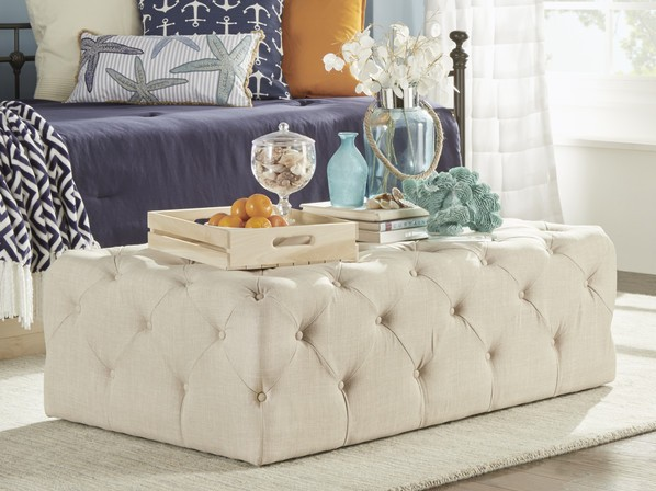 Rectangular Tufted Ottoman Coffee Table