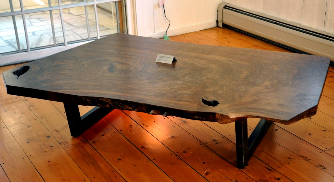 Dark Wood Slab Coffee Table
