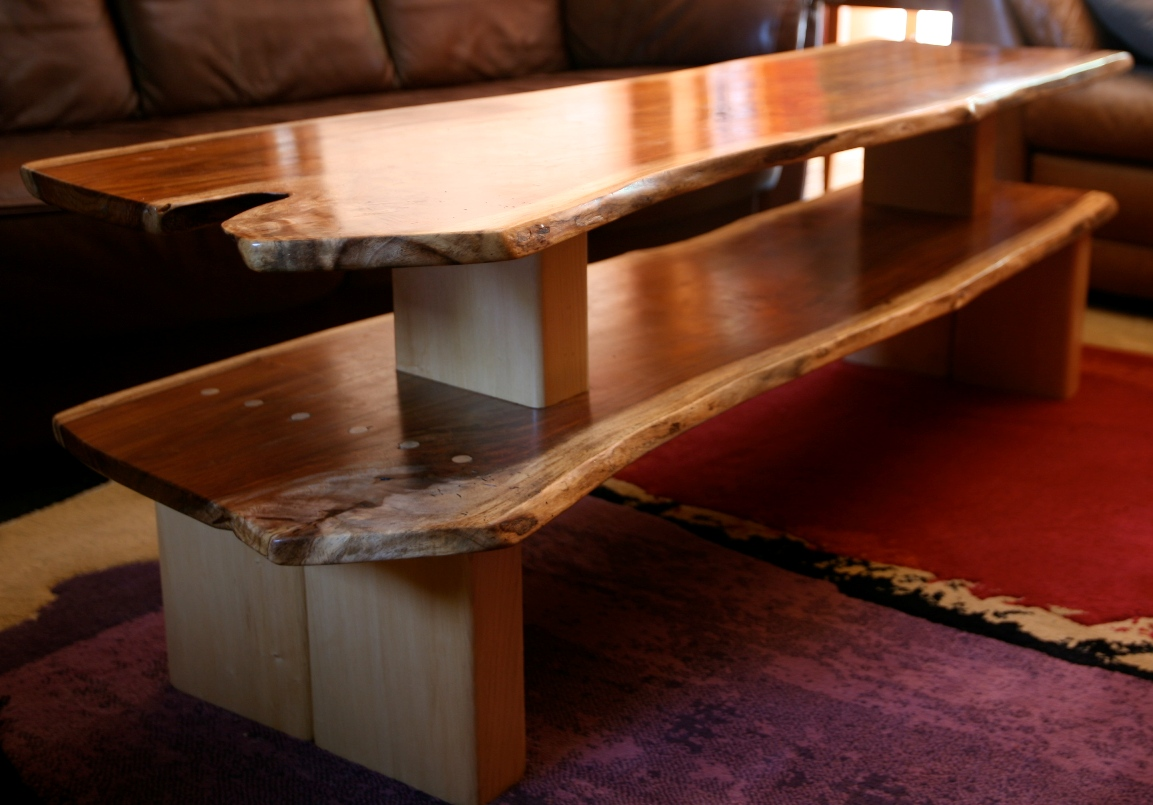 Double Wood Slab Coffee Table Coffee Tables