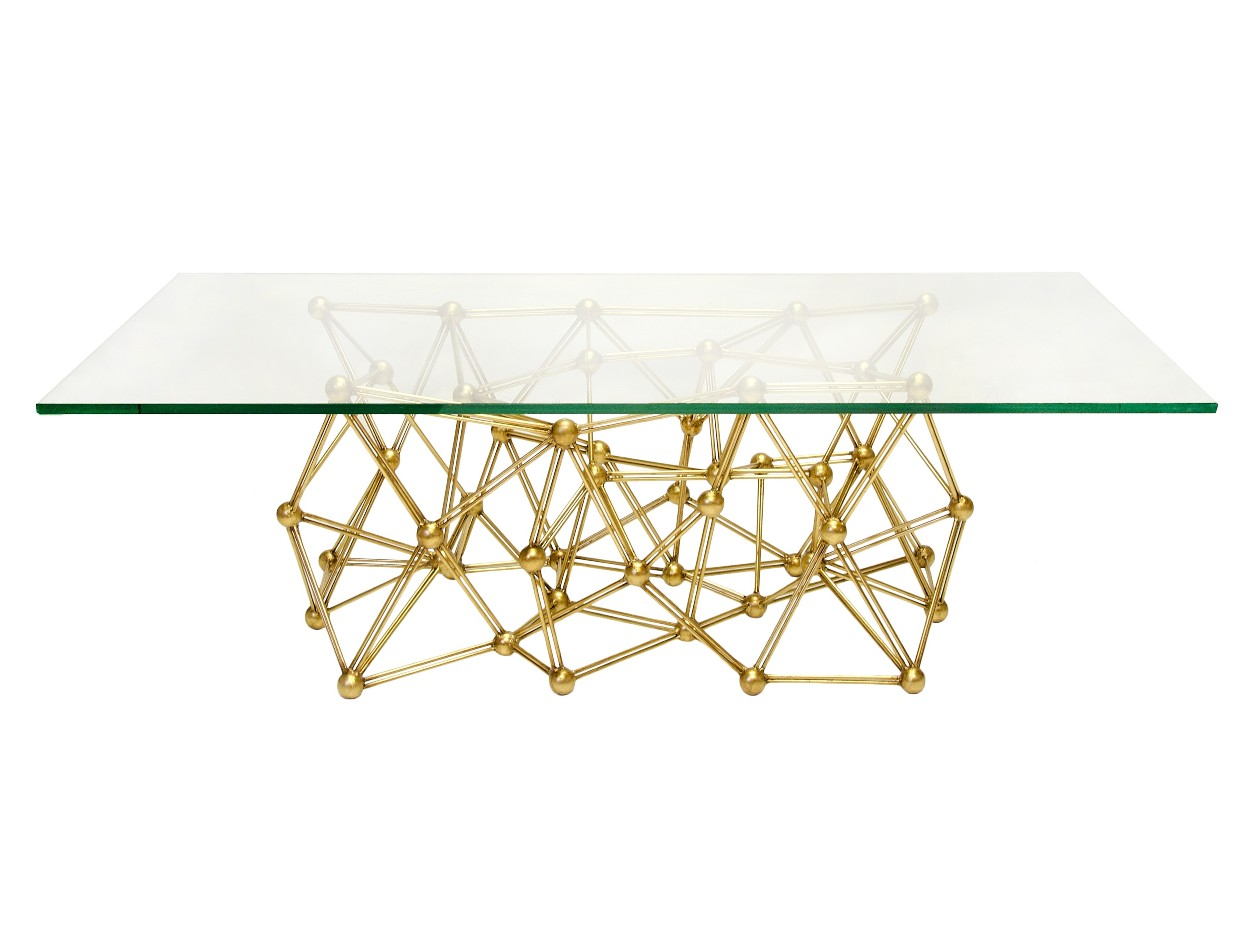 Glass Top Coffee Table With Golden Base