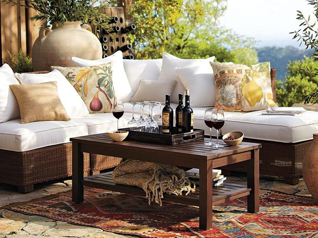 Patio Coffee Table With Open Shelf