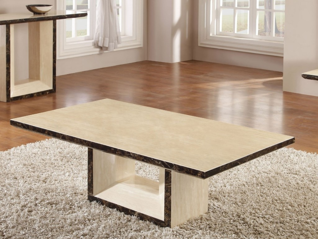Cream Coffee Table Made Of Marble