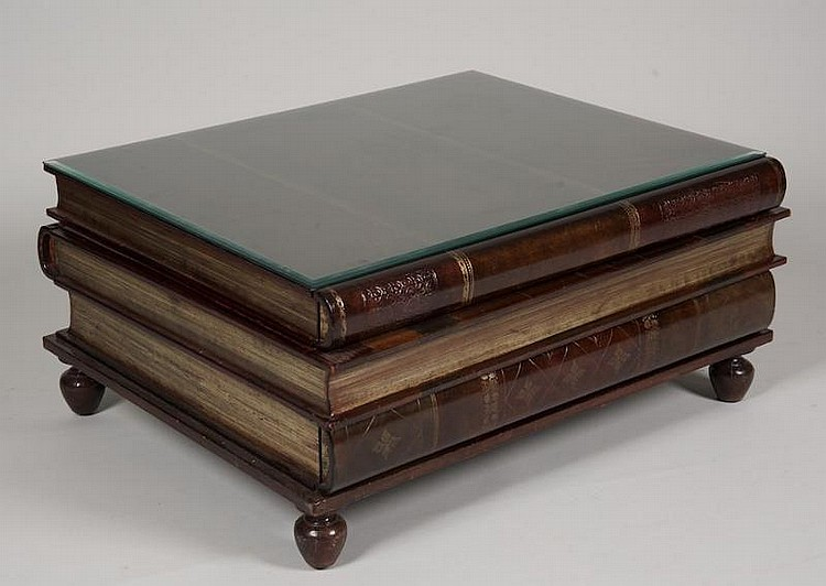 Book Form Leather Coffee Table