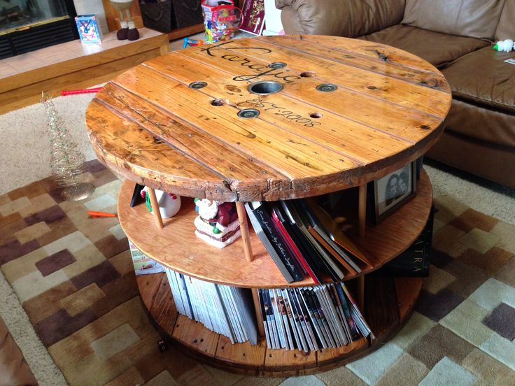 Nice Coffee Table Made Of Cable Spool Image And Description