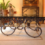 Coffee Table with Iron Wrought Base
