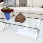 Contemporary Glass Coffee Table with Adjustable Height