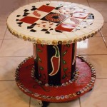 Decorated Coffee Table Made of Cable Spool
